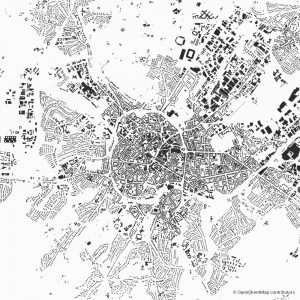 Figure-ground diagram city map Schwarzplan Aachen