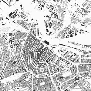Figure-ground diagram city map Schwarzplan Amsterdam