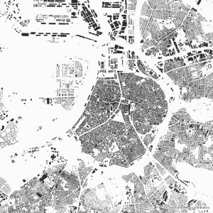 Figure-ground diagram city map Schwarzplan Antwerp
