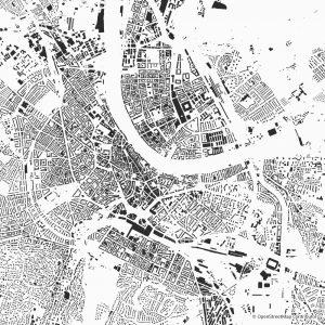 Figure-ground diagram city map Schwarzplan Basel