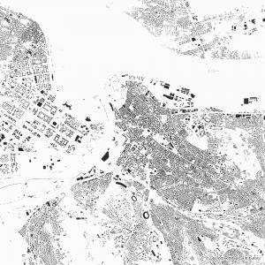 Figure-ground diagram city map Schwarzplan Belgrade