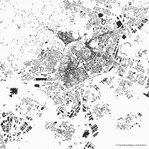 Figure-ground diagram city map Schwarzplan Bergamo