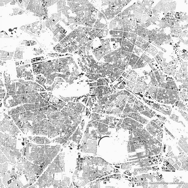 Figure-ground diagram city map Schwarzplan Berlin