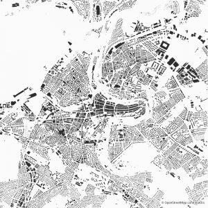 Figure-ground diagram city map Schwarzplan Bern