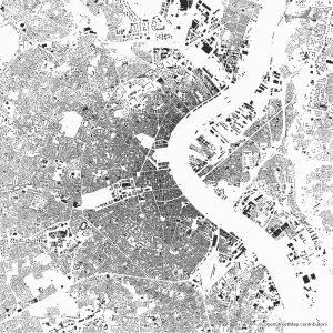 Figure-ground diagram city map Schwarzplan Bordeaux