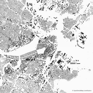 Figure-ground diagram city map Schwarzplan Boston