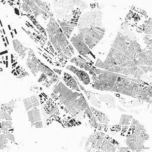 Figure-ground diagram city map Schwarzplan Bremen
