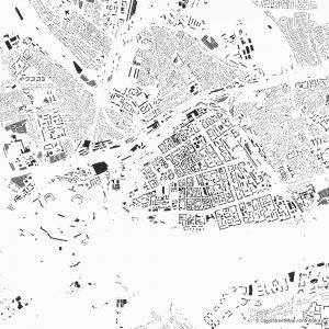 Figure-ground diagram city map Schwarzplan Brest