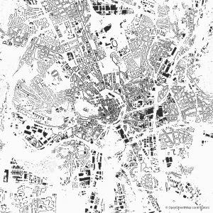 Figure-ground diagram city map Schwarzplan Brno