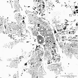 Figure-ground diagram city map Schwarzplan Budweis